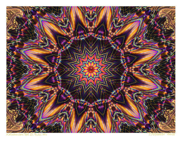 Kaleidoscopes; Mandala Images; Autumn Colors; Kaleidoscopic Art Art Print featuring the digital art kaleido Perf10 9cAvi 44 by Terry Anderson
