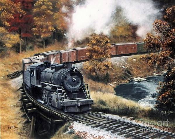 Train Painting Railroad Maryland And Pennsylvania Autumn Fall Colors Steam Engine Art Print featuring the painting MaPa by David Mittner