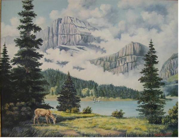 Glacier Nat. Park Art Print featuring the painting Morning At The Glacier by Wanda Dansereau