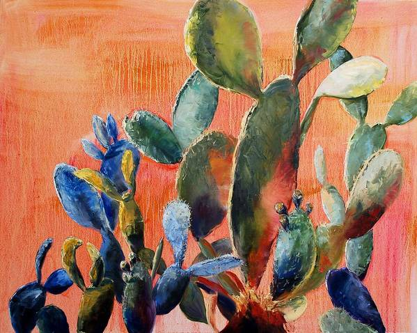 Cactus Art Print featuring the painting Prickly Pear by Lynee Sapere