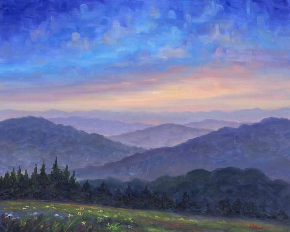 Smoky Mountain Art Print featuring the painting Smoky Mountain Wildflowers by Jeff Pittman