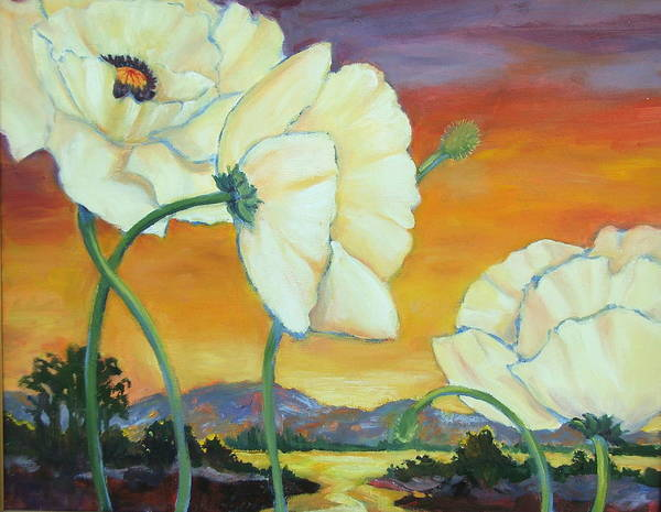 White Poppies Art Print featuring the painting White Poppies Dancing by Dianna Willman