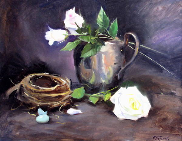 Still Life Art Print featuring the painting Nest And Roses by Ron W McDowell