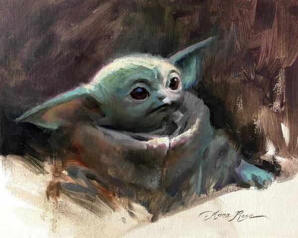 Yoda Art Print featuring the painting Baby Yoda by Anna Rose Bain
