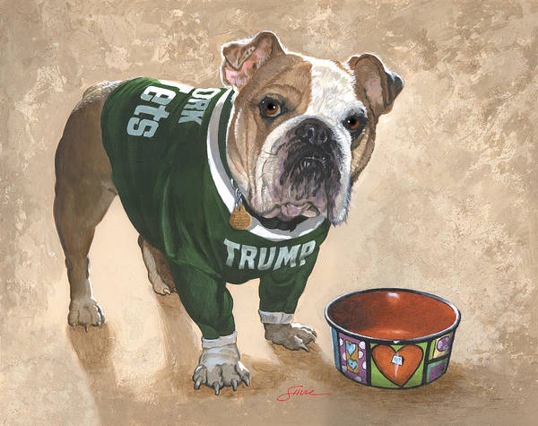 English Bulldog Art Print featuring the painting Whats For Dinner by Harold Shull