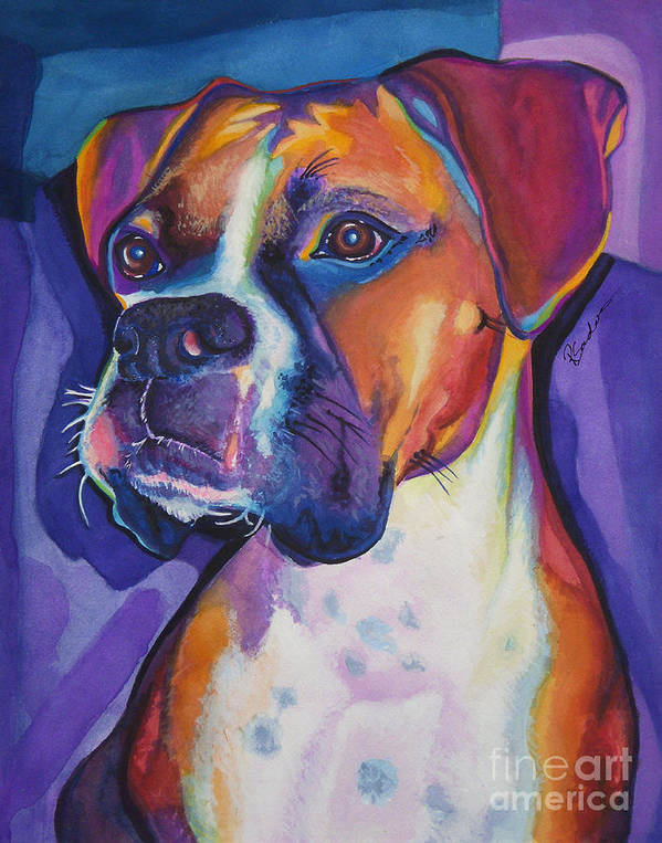 Colorful Print featuring the painting Boxer Dog Portrait by Robyn Saunders