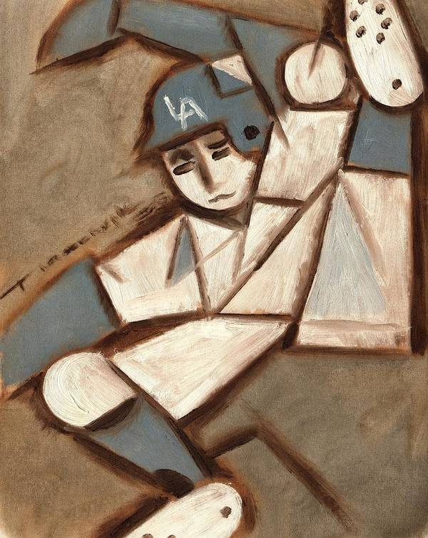 Los Angeles Dodgers Art Print featuring the painting Cubism La Dodgers Baserunner Painting by Tommervik