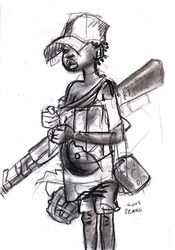 Art Print featuring the drawing Plight Of A Child Soldier by Okwir Isaac