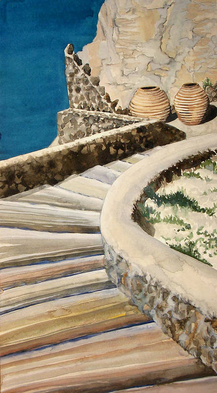 Watercolor Art Print featuring the painting Greekscape 3 by Caron Sloan Zuger