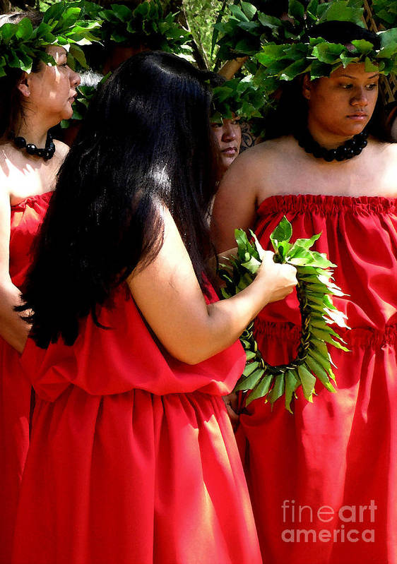 Hula Art Print featuring the photograph Kukui Dancers by James Temple