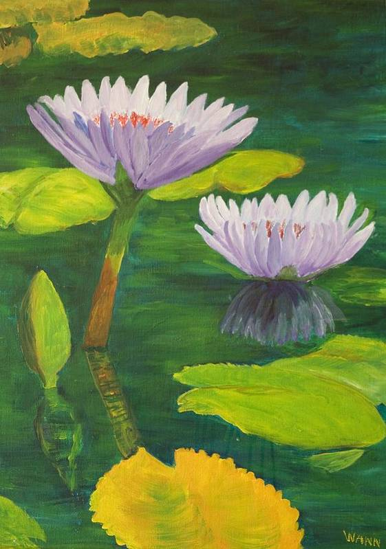 Flower Art Print featuring the painting Water Lilies by Anita Wann