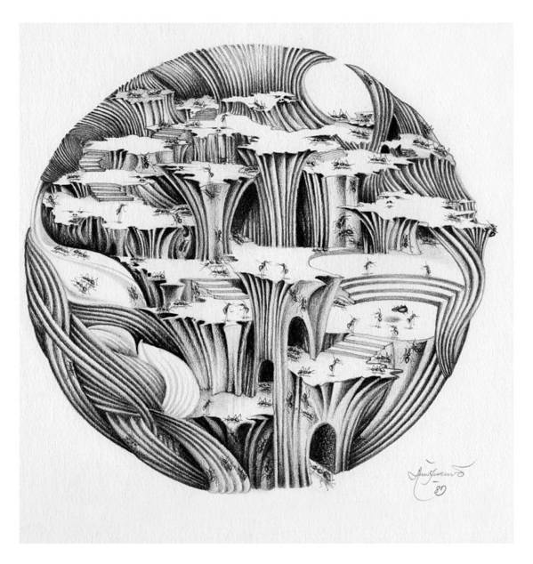 Surrealism Art Print featuring the drawing Untitled by Aziz Awang