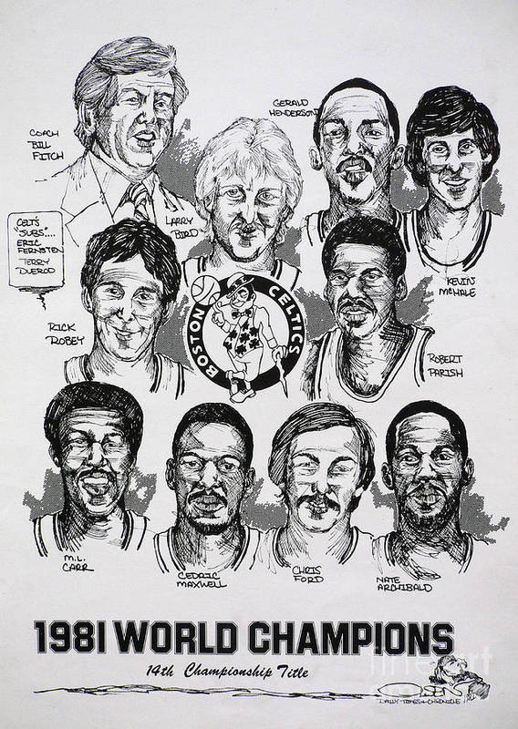 Nba Art Print featuring the drawing 1981 Boston Celtics Championship Newspaper Poster by Dave Olsen