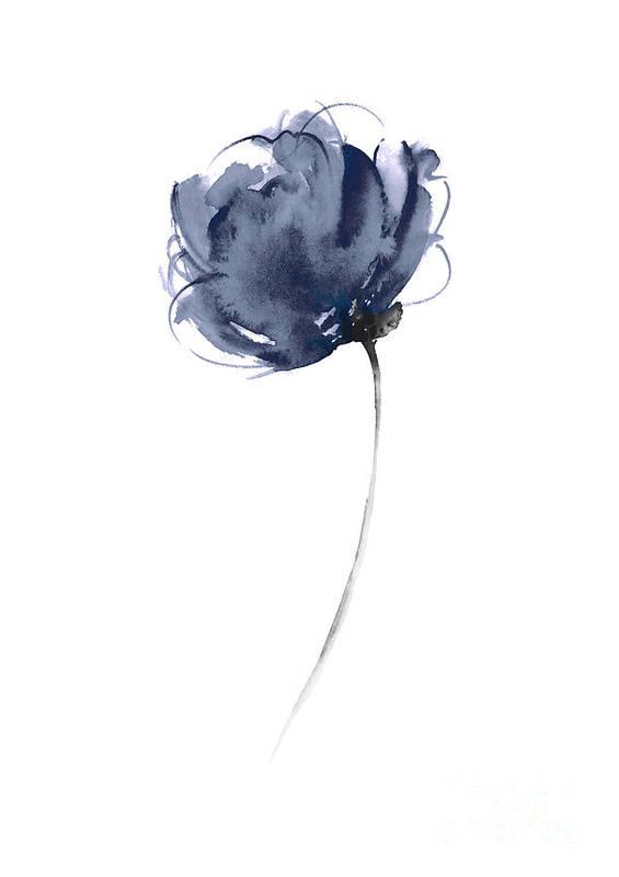 Blue Flowers Home Garden Botanical Illustration, Abstract Navy Flower Watercolor Art Print by Joanna Szmerdt