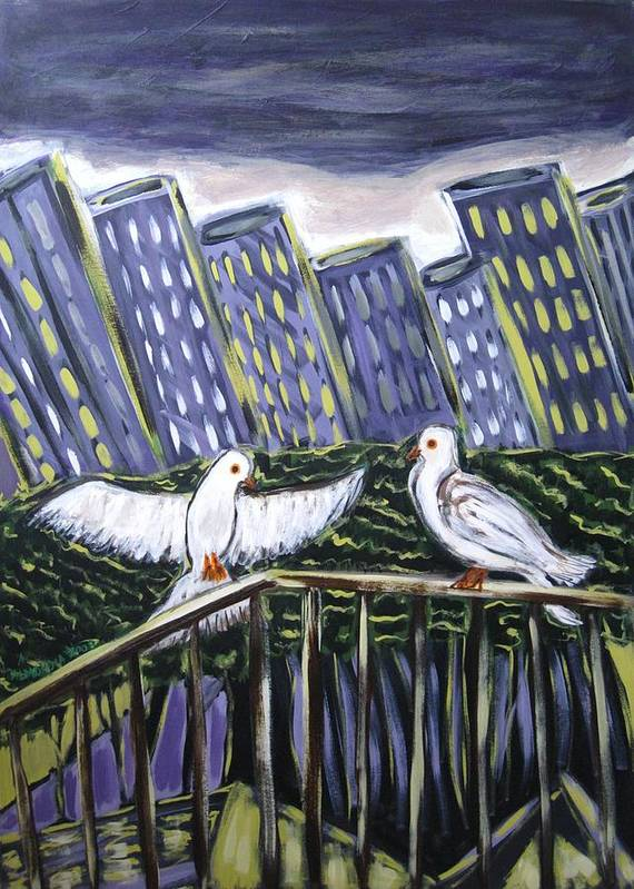 Animals Art Print featuring the painting Dos Doves by Albert Almondia