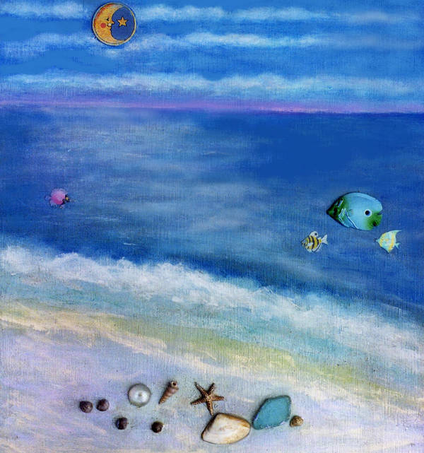 Beach Art Print featuring the painting Three Beaches C by Mary Ann Leitch