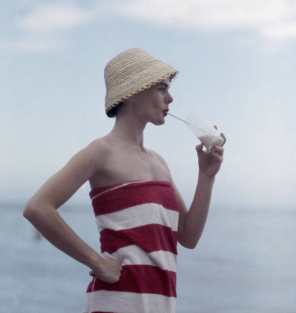 Straw Hat Art Print featuring the photograph Pussyfooting by Slim Aarons