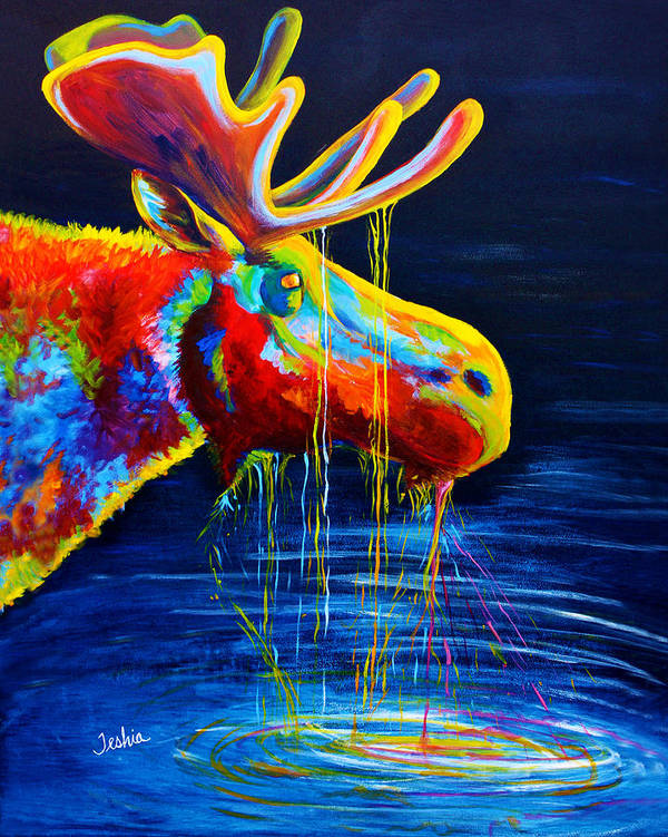 Moose Art Print featuring the painting Moose Drool by Teshia Art