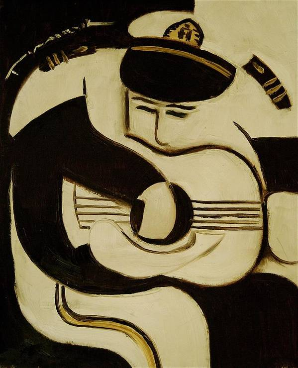 Sailor Art Print featuring the painting Sea captain playing guitar Art Print by Tommervik