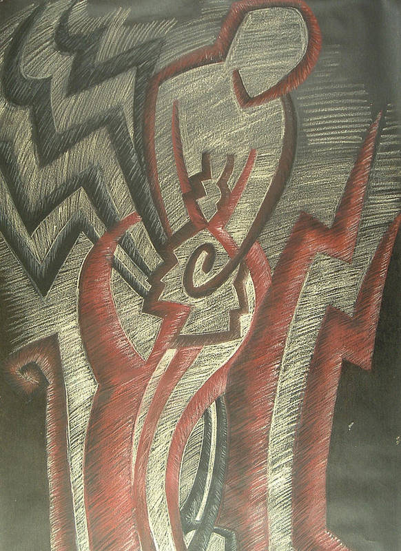 Drawing Art Print featuring the drawing Inner Turmoil detail by Donald Burroughs