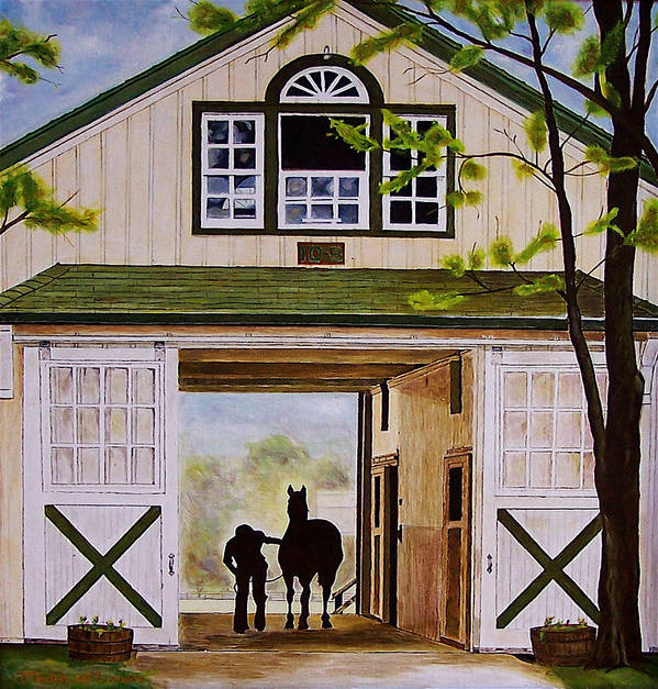 Landscape Art Print featuring the painting Horse Barn by Michael Lewis