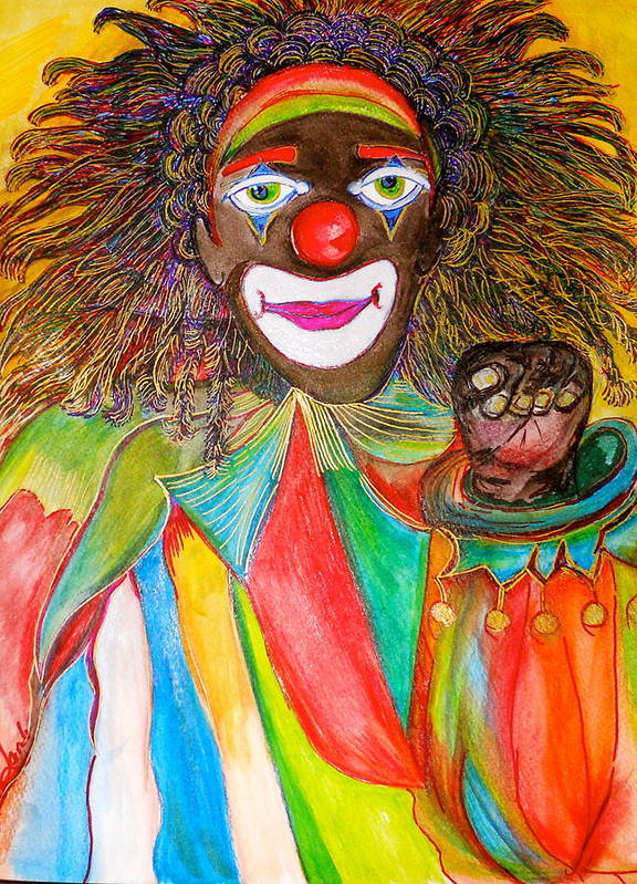 Ethnic Clown Art Print featuring the painting Homeboy The Clown by Lynda Lamb