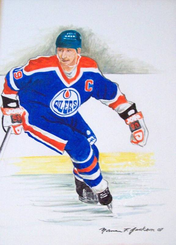 Hockey Art Print featuring the painting The Great One by Norman F Jackson