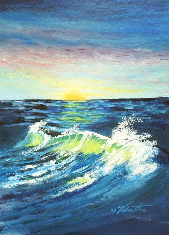 Landscape Art Print featuring the painting Wave By Early Light by Dennis Vebert