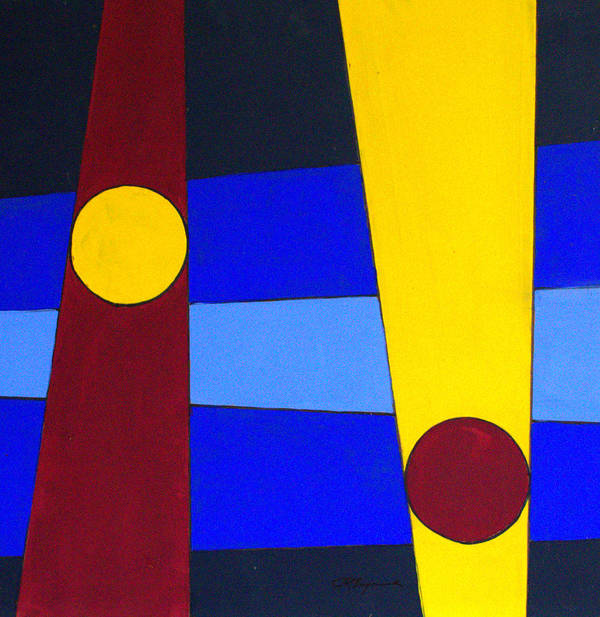 Abstract Art Print featuring the painting Circles Lines Color by J R Seymour