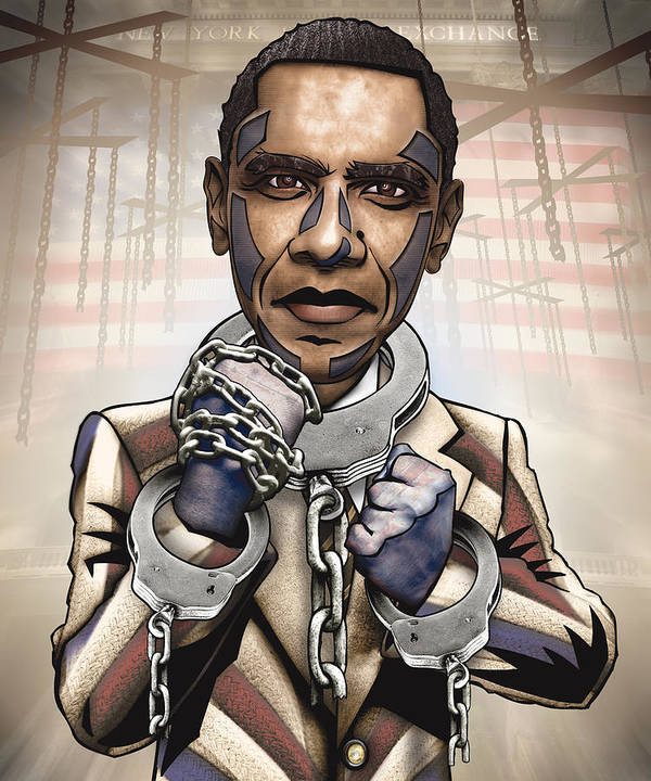 Obama Print featuring the drawing Barack Obama - Stimulate This by Sam Kirk