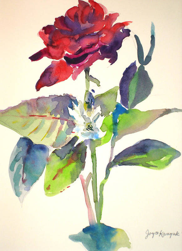Rose Art Print featuring the painting A Rpse by Joyce Kanyuk