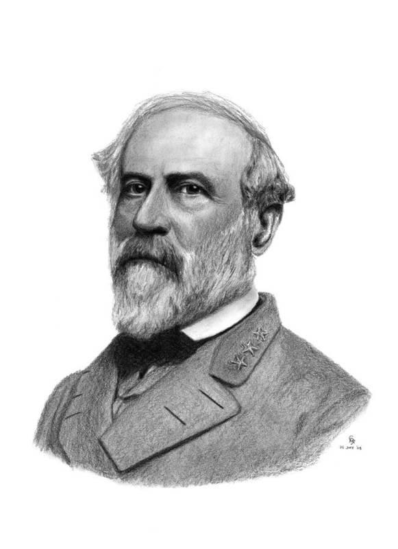 Confederate Art Print featuring the drawing Confederate General Robert E Lee by Charles Vogan
