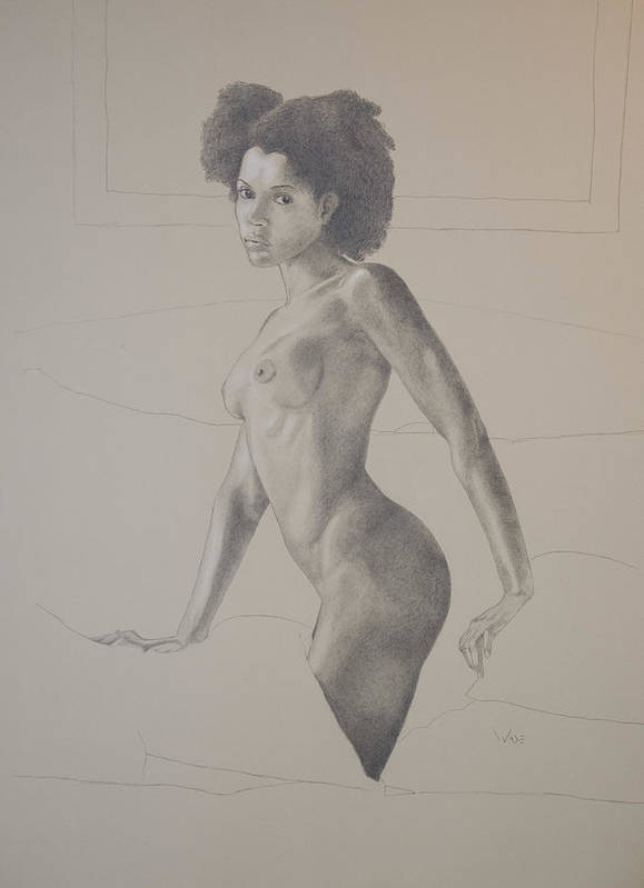 Black Female Art Print featuring the drawing Female Nude Four by George Wade