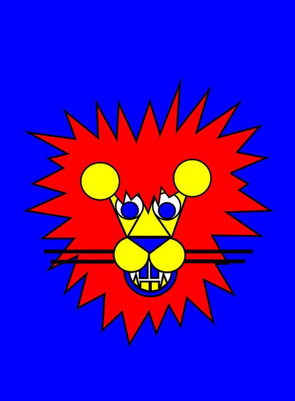 Mister Lion. Lion Art Print featuring the digital art Mister Lion by Asbjorn Lonvig