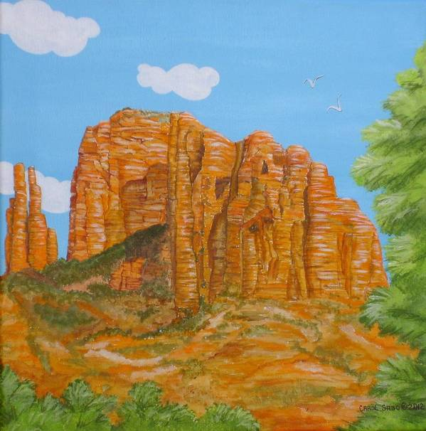 Acrylic Art Print featuring the painting Cathedral Rock Sedona Az Right by Carol Sabo