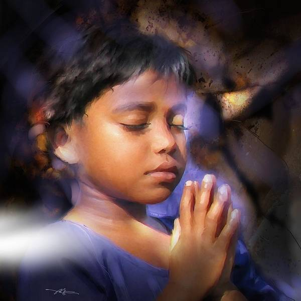 Girl Print featuring the painting A Child's Prayer by Bob Salo