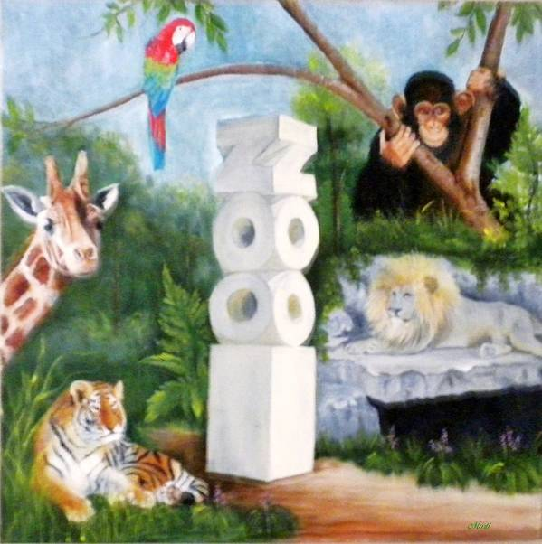 Zoo Art Print featuring the painting Zoo by Marti Idlet