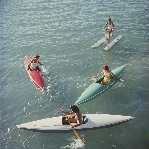 Pedal Boat Art Print featuring the photograph Lake Tahoe Trip by Slim Aarons
