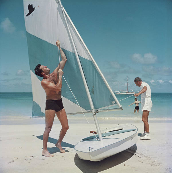 Hugh O'brian Art Print featuring the photograph Boating In Antigua by Slim Aarons