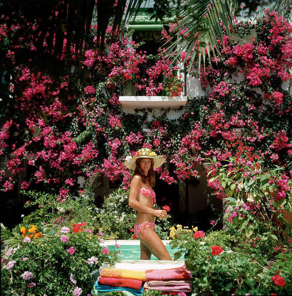 Straw Hat Art Print featuring the photograph Valerie Cates by Slim Aarons