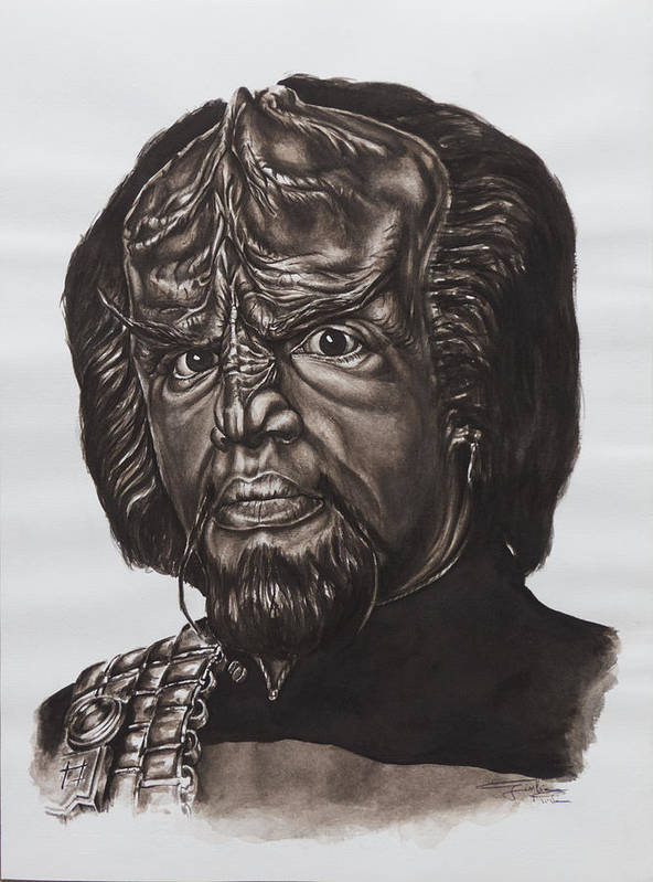 Star Trek Art Print featuring the painting lieutenant commander Worf Star Trek TNG by Giulia Riva