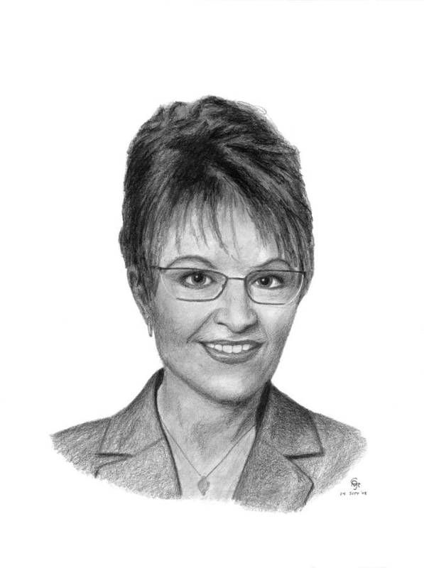 Governor Art Print featuring the drawing Governor Sarah Palin by Charles Vogan