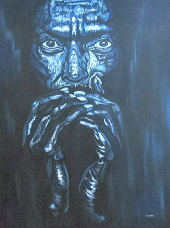 Portrait Art Print featuring the painting Miles by Shahid Muqaddim