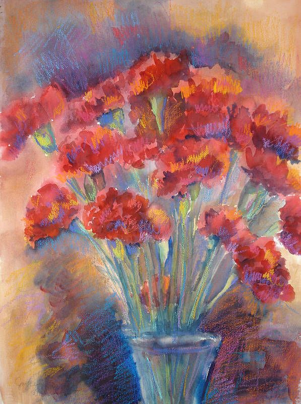 Flowers Art Print featuring the painting Carnations by Joyce Kanyuk