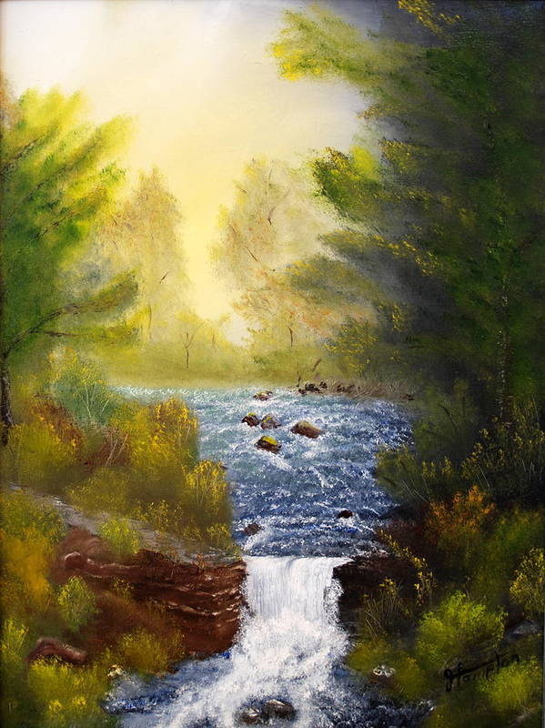Landscape Art Print featuring the painting Misty Morning by Jack Hampton