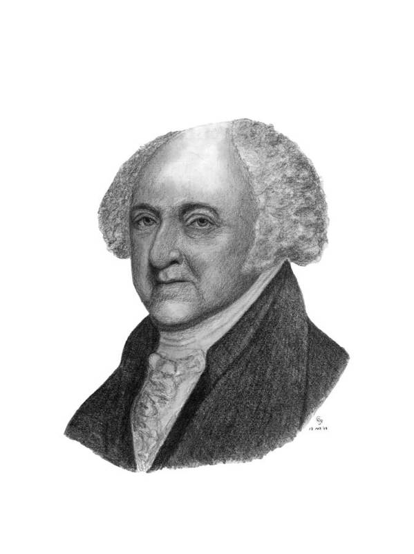 President Art Print featuring the drawing President John Adams by Charles Vogan