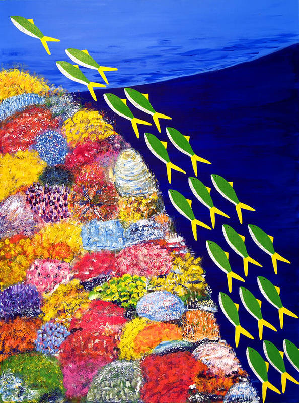 Caribbean Art Print featuring the painting Rising Shoal IIi by Sula Chance