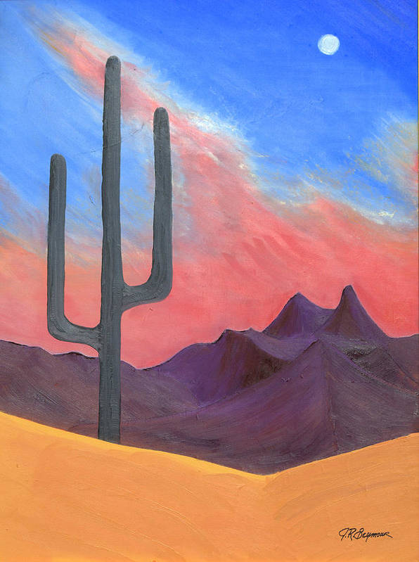 Cactus Art Print featuring the painting Southwest Scene by J R Seymour