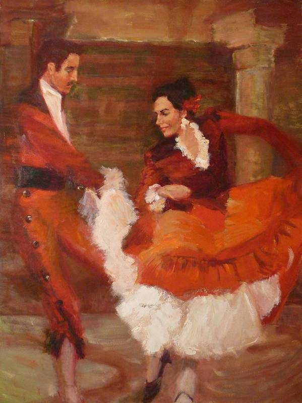 Spanish Art Print featuring the painting Spanish Dancers by Irena Jablonski