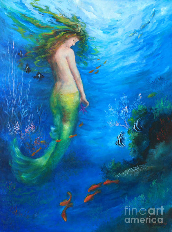 Mermaid Art Print featuring the painting To The Surface by Gail Salitui